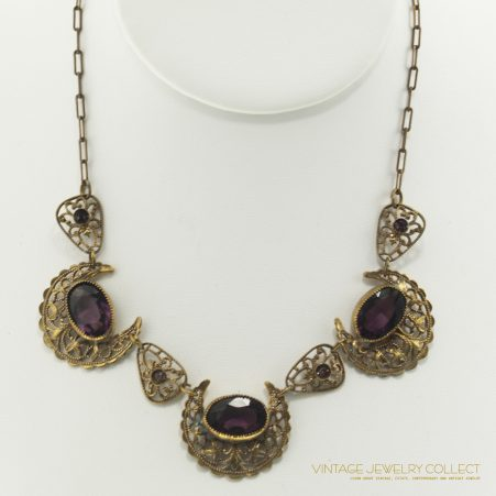 Vintage Victorian Czech Necklace With Amethyst Stones