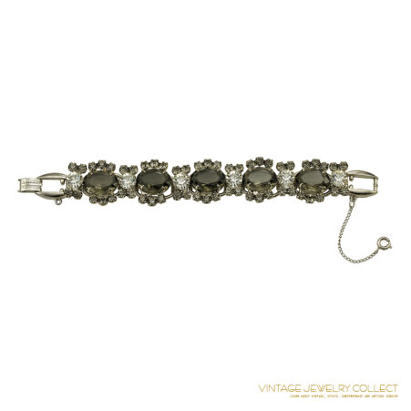 Large Grey Oval Rhinestone Juliana Bracelet