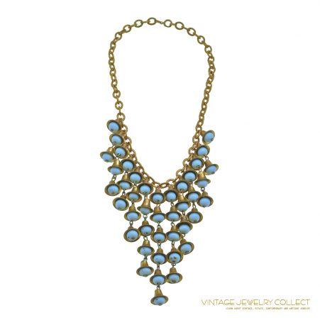 Vintage Haskell Bib Necklace with Bell-Shaped Drops