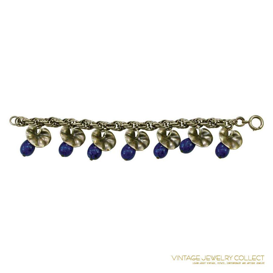 Fabulous c. 1940s Charm Bracelet with Faux Lapis Drops