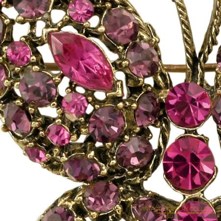 Vintage Butterfly Brooch with Magenta and Amethyst-colored Rhinestones