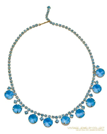 Vintage Frosted Blue Rhinestone Collar Necklace