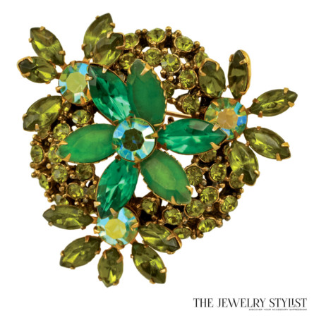 Multi Layered Peridot and Apple Green Rhinestone Brooch and Earring Set