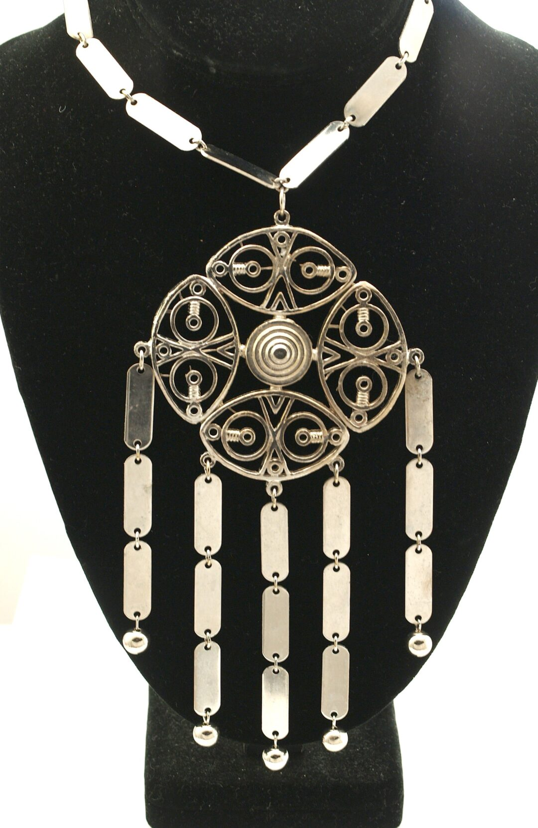 Vintage 1970s Large Pendant Necklace with Open Metalwork