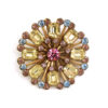 Vintage 1950s Aqua, Yellow and Amethyst Colored Rhinestone Pin, Circle Brooch