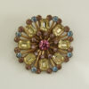 Vintage 1950s Aqua, Yellow and Amethyst Colored Rhinestone