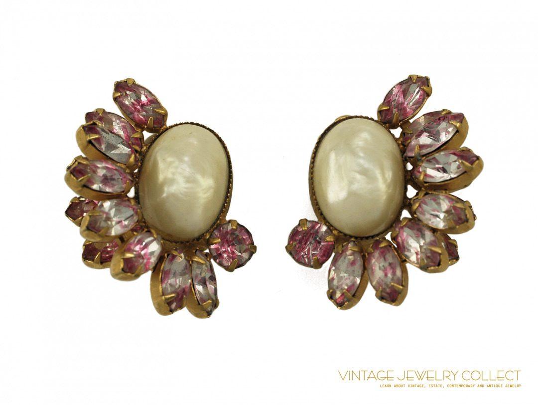 Vintage Pink Givre and Pearl Rhinestone Earrings