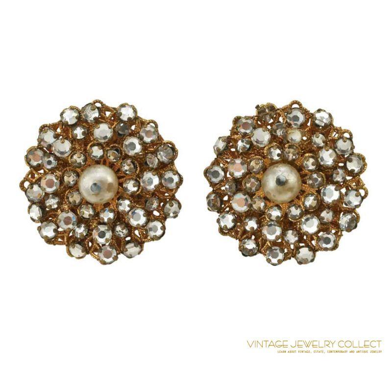 Vintage Unsigned Filigree Rose Montee Rhinestone Earrings