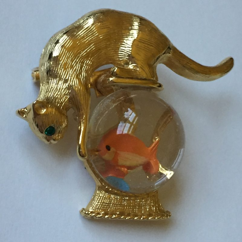 Gold Crown © Kitty Cat Fish Bowl Brooch.