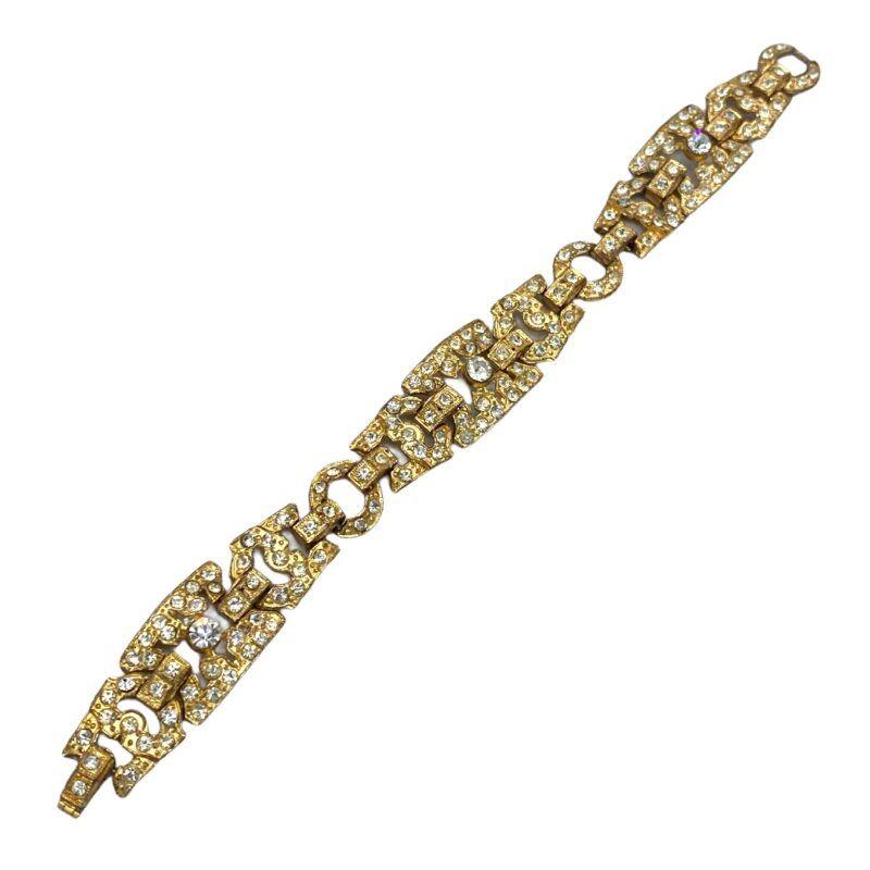 1940s Deco Revival Rhinestone Bracelet