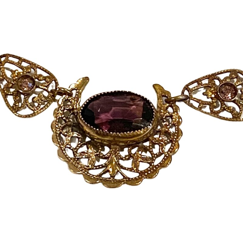 Victorian Czech Necklace With Amethyst Stones