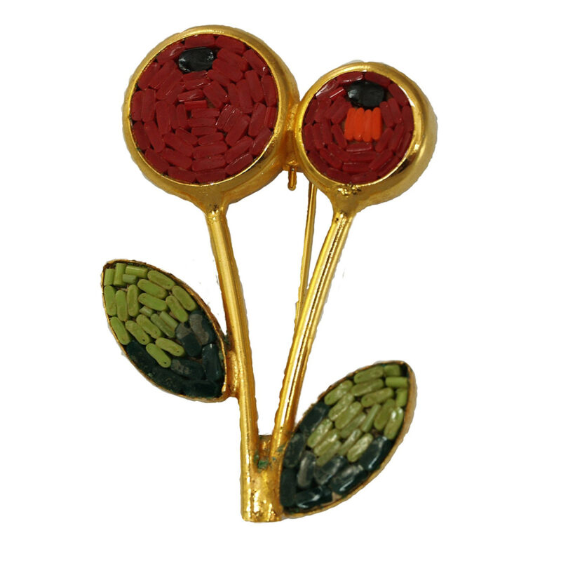 Vintage 1950s Mosaic Italian Cherry Pin