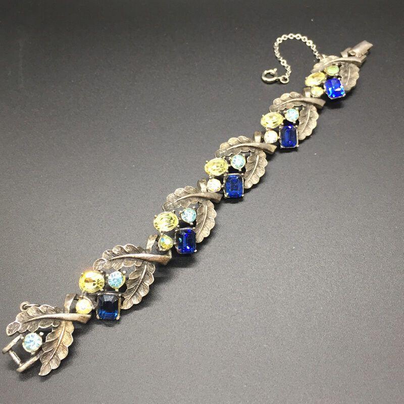 vintage gunmetal finish Coro rhinestone bracelet