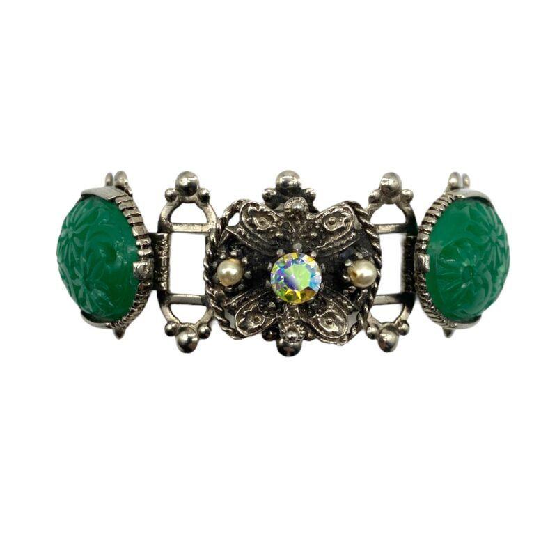 Faux Carved Jade Flexible Link Bracelet