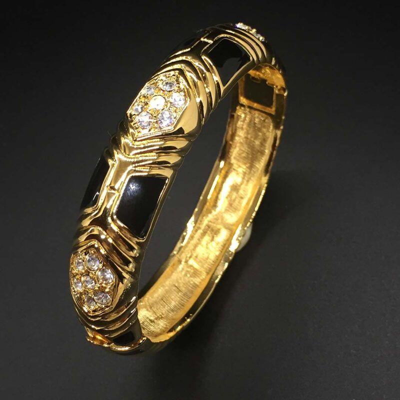 Joan Rivers Black Enamel Crystal Rhinestone Bracelet