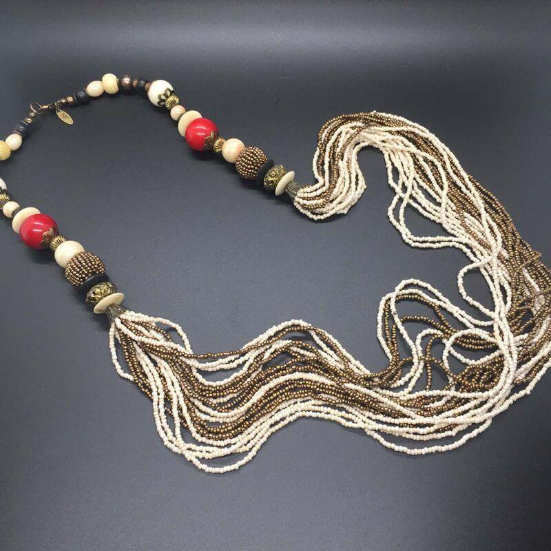 Long Vintage Multi-Strand Bead Necklace