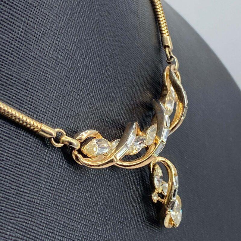 Trifari rhinestone necklace with swirls