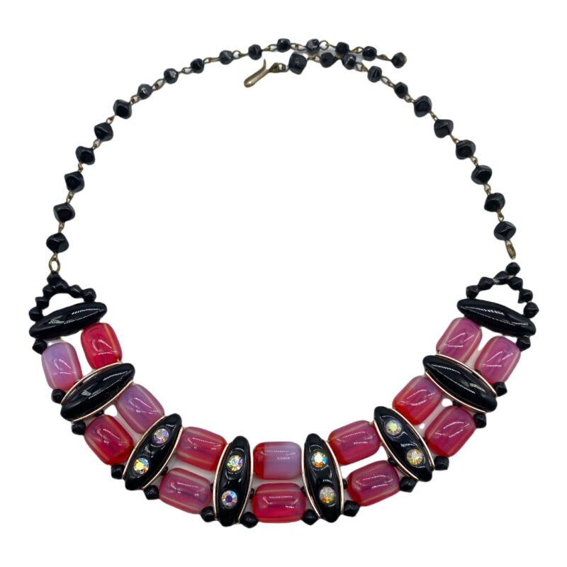 West German Deco-Inspired Glass Bead Necklace