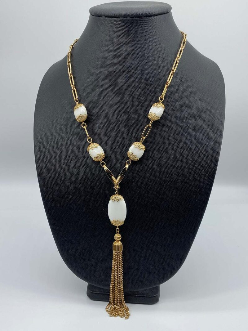 Vintage milkglass tassel necklace