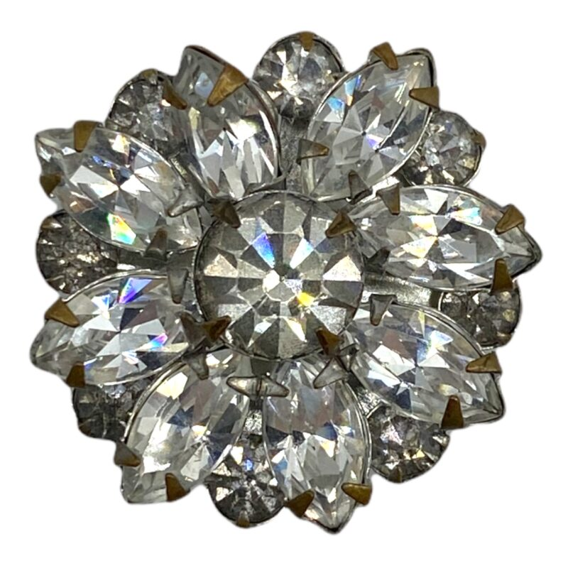 Vintage Silver-tone Floral Rhinestone Scatter Pin